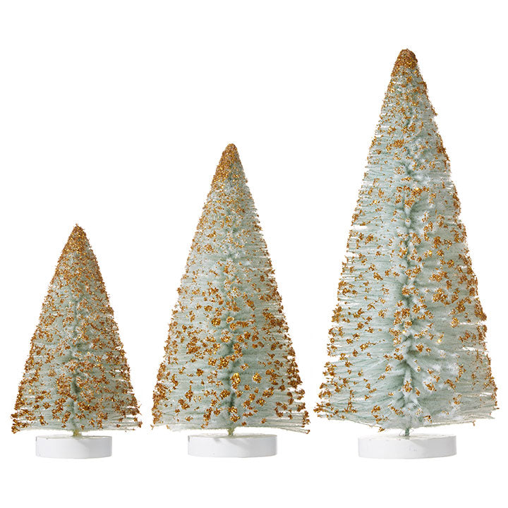 Flocked Blue-Green Bottle Brush Trees Dusted with Gold Glitter