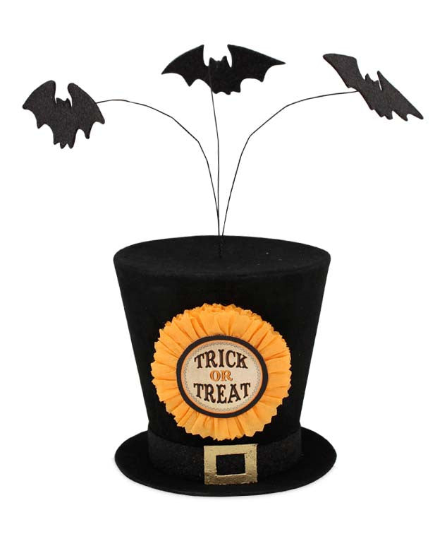Trick or Treat Top Hat with Bats - Bethany Lowe Halloween