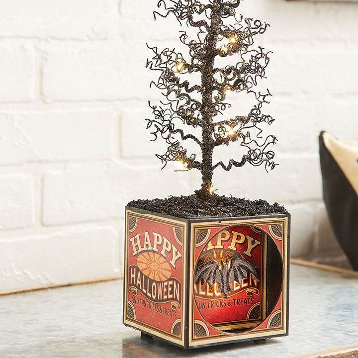 Halloween Box with Lighted Tree - Close up