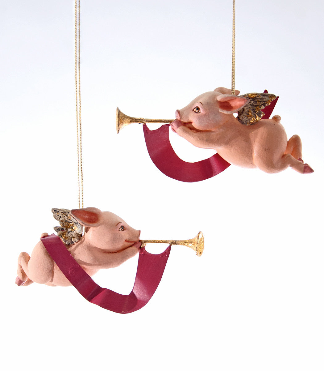 Trumpet Cupig Ornaments - Flying Pigs