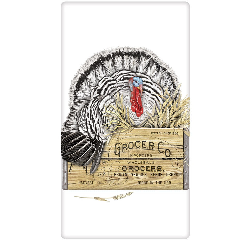 Turkey In Crate Kitchen Flour Sack Towel For Thanksgiving