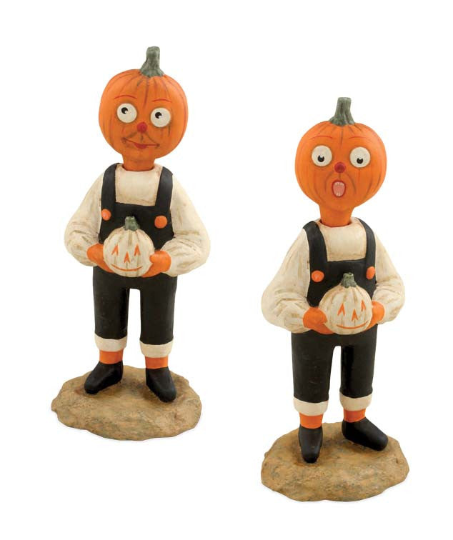 Two Faced Pumpkin Boy Figurine by Allen Cunningham