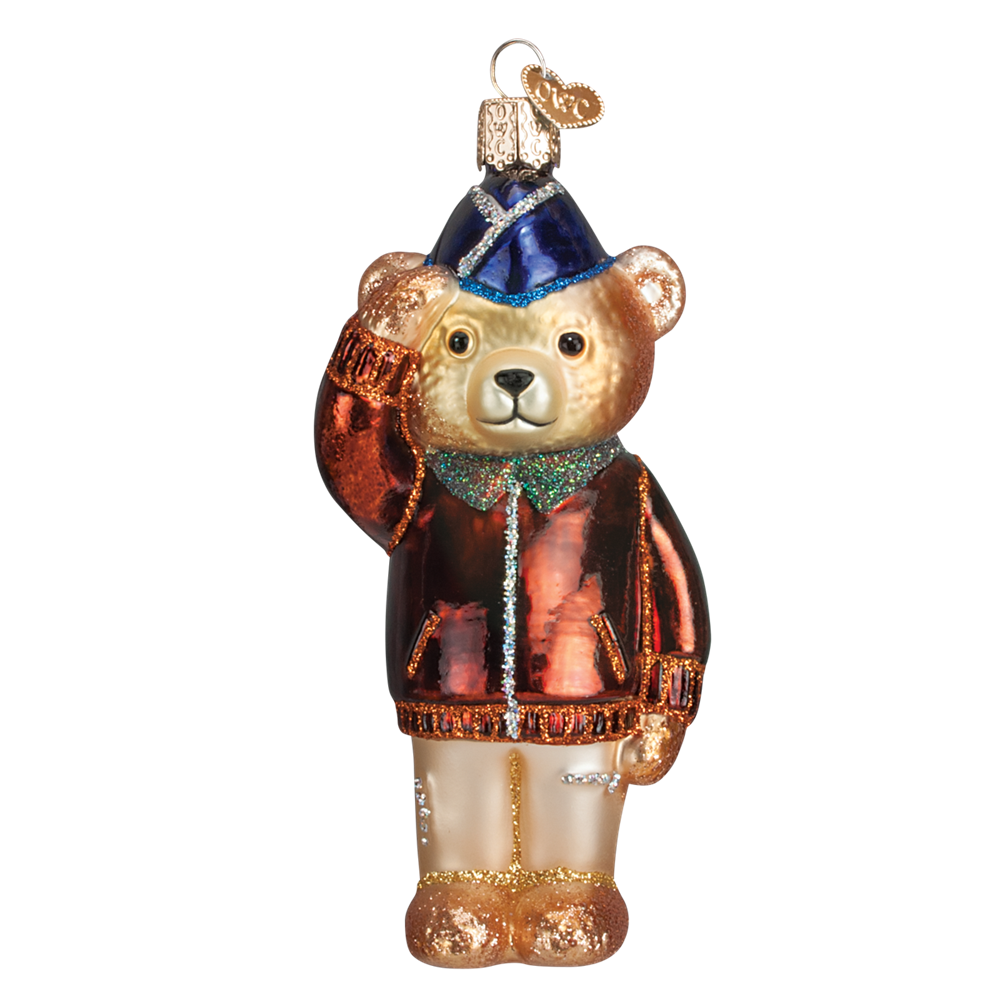 Saluting US Airforce Teddy Bear Ornament by Old World Christmas