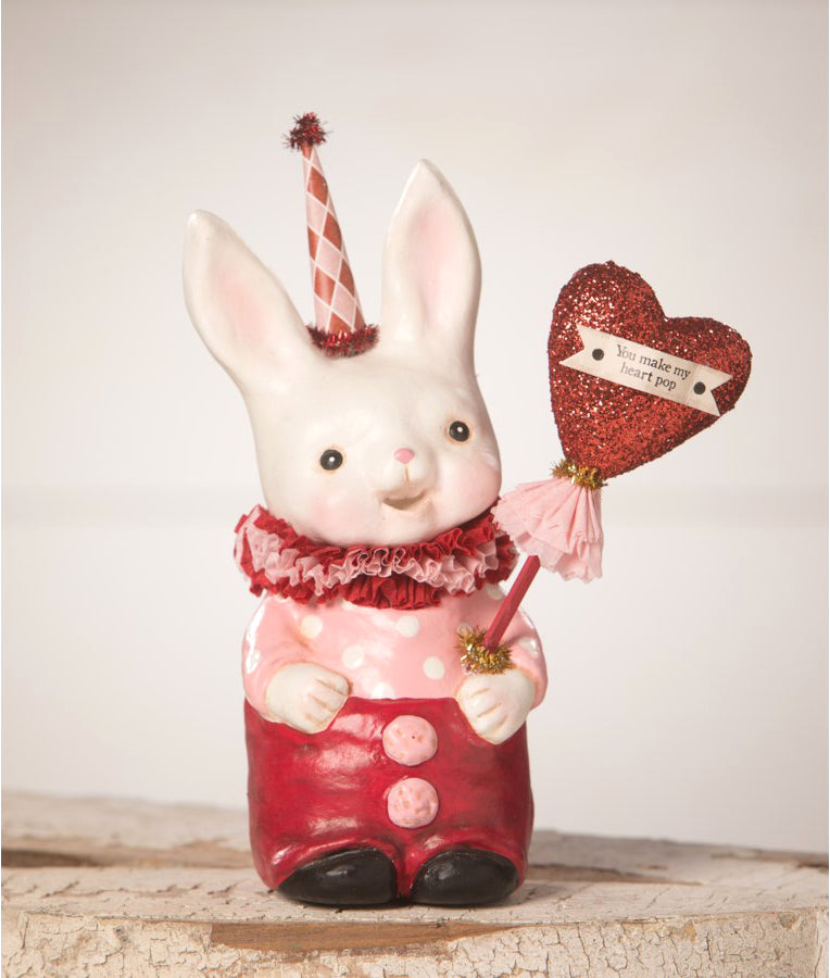 Valentine Snuggle Bunny Hold A Heart Shaped Sign that Reads You Make My Heart Pop