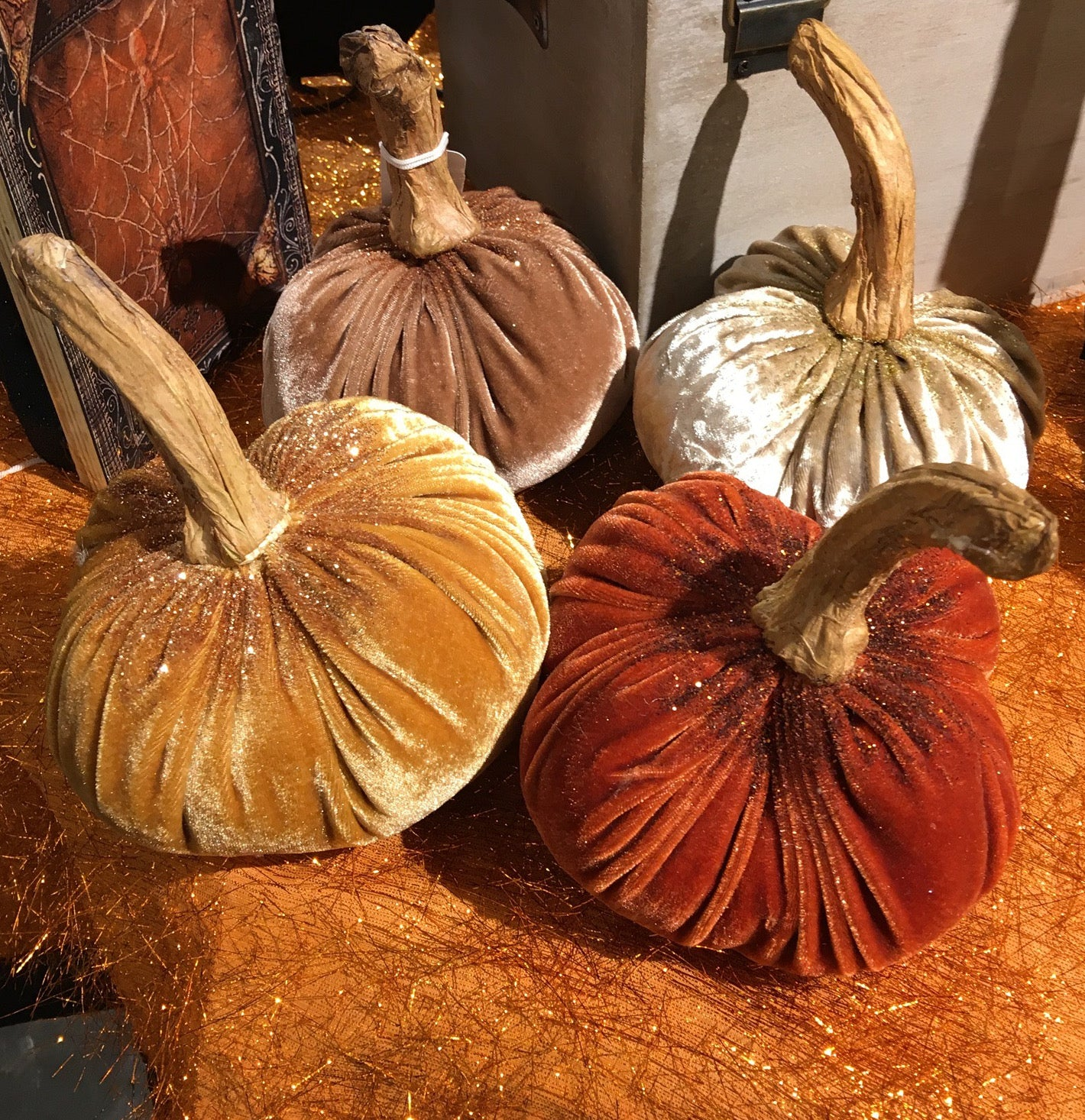 Glittered Velvet Pumpkins - Small