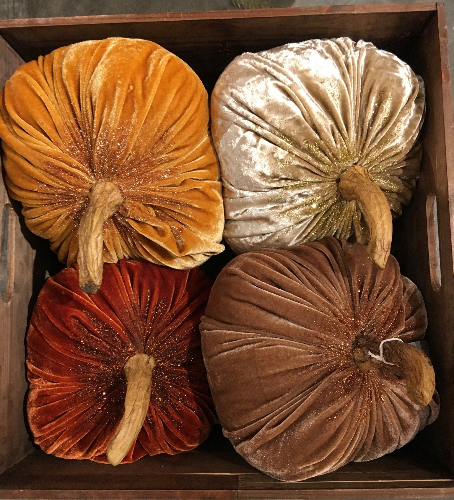 Glittered Velvet Pumpkins - Large