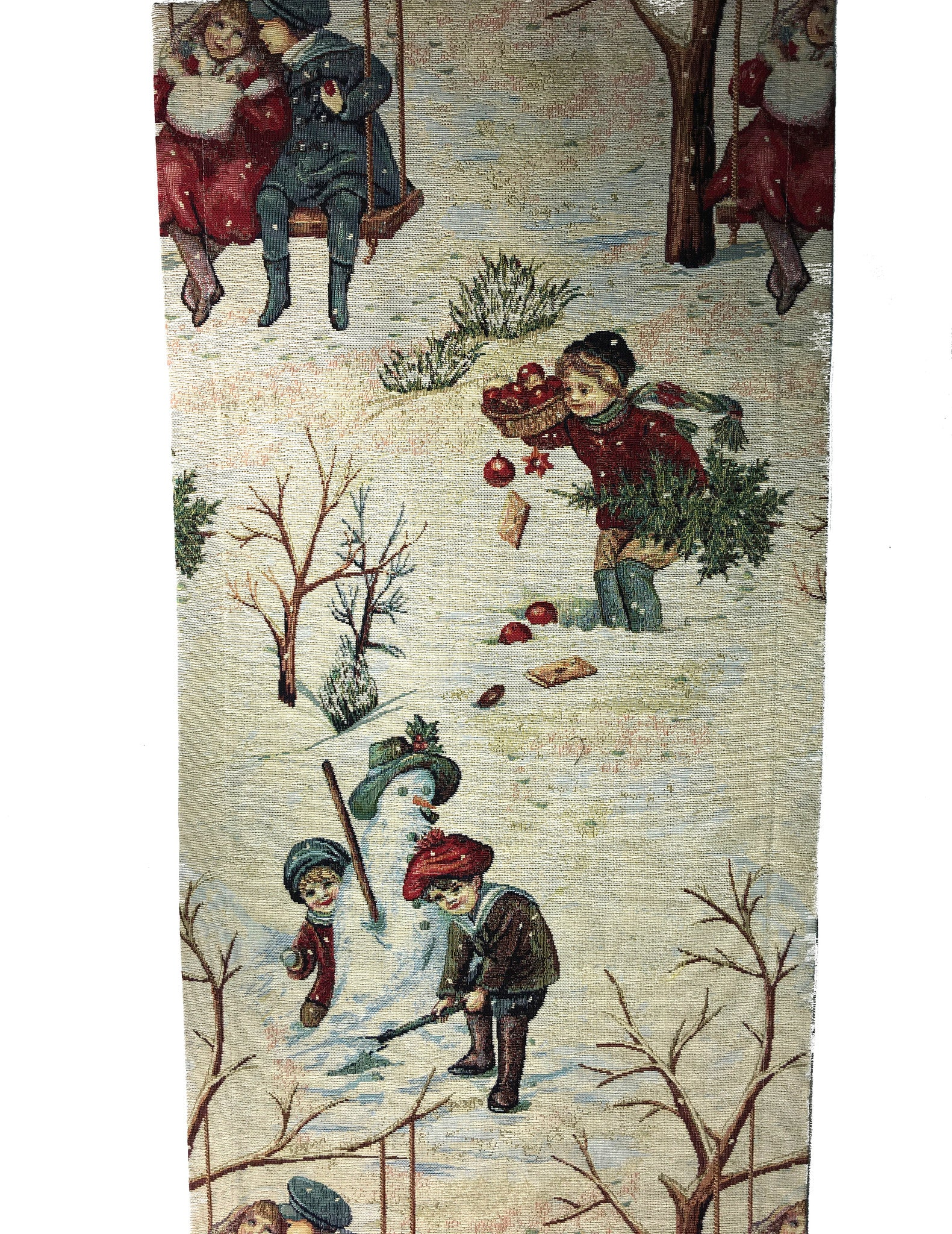 Victorian Winter Children Tapestry Table Runner made in Germany