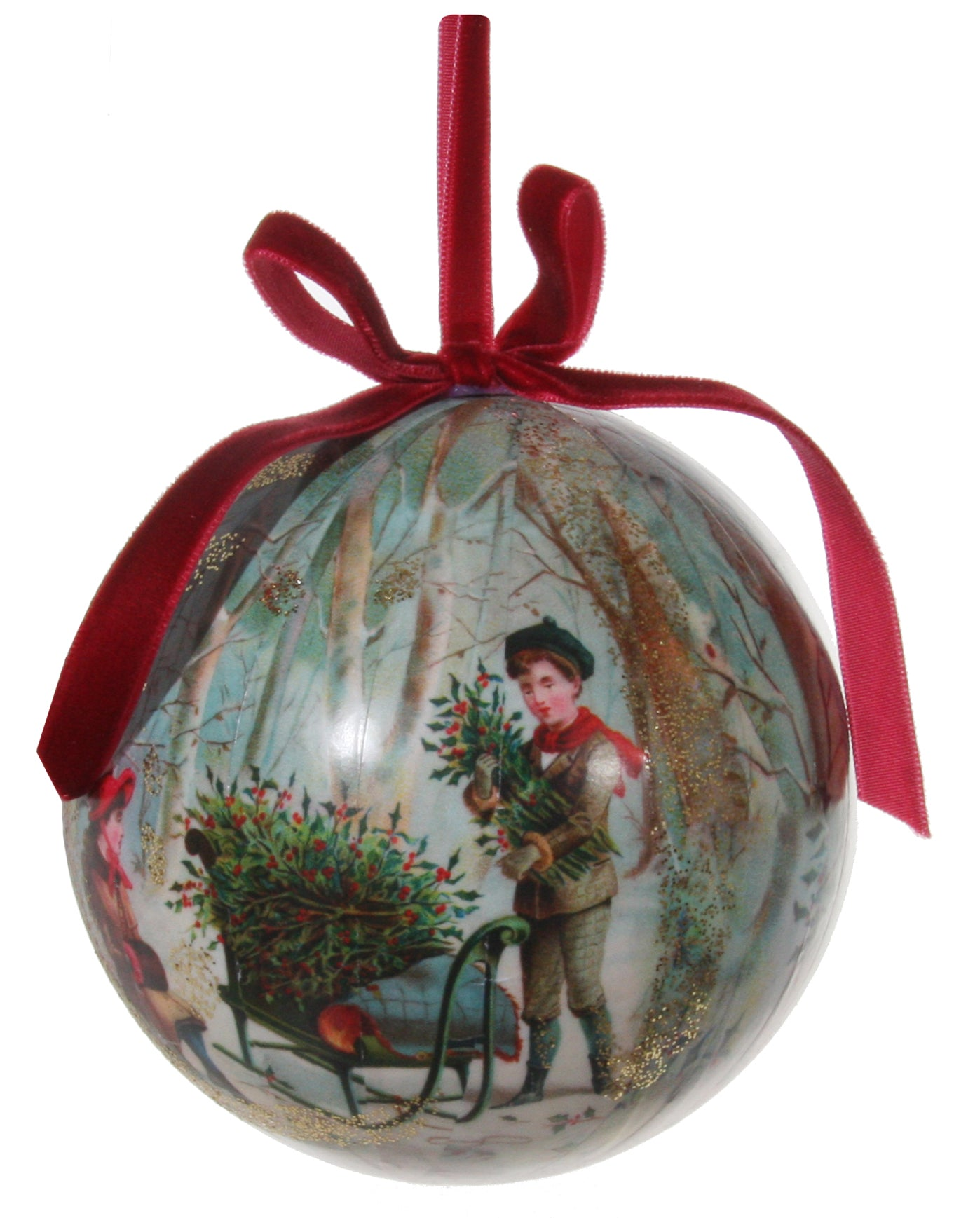 Victorian Christmas Decoupage Ball Ornament, Gathering the Holly
