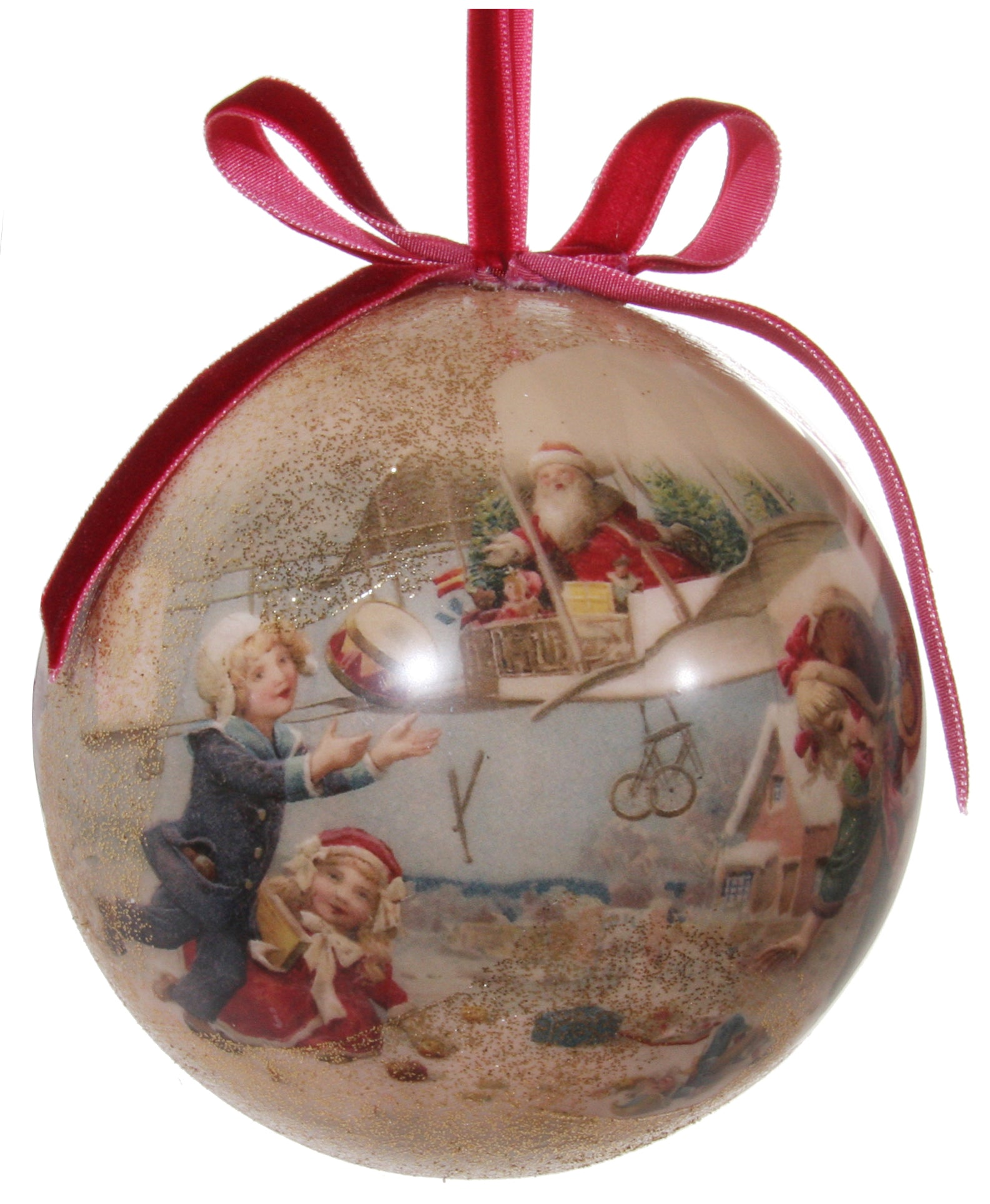 Victorian Christmas Decoupage Ball Ornament, Santa\u0027s Airplane Delivery