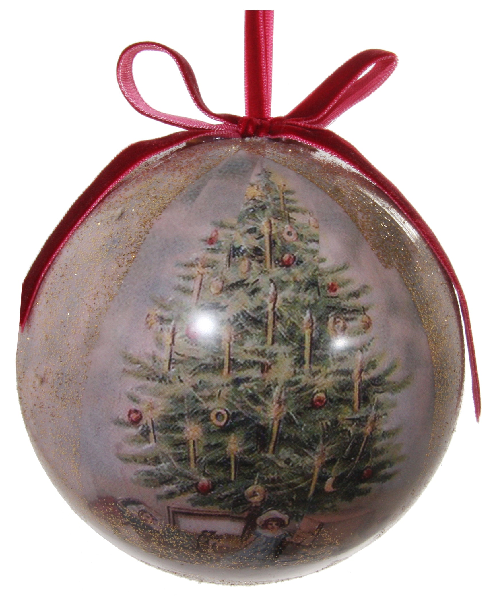 Victorian Christmas Decoupage Ball Ornament, Decorated ...