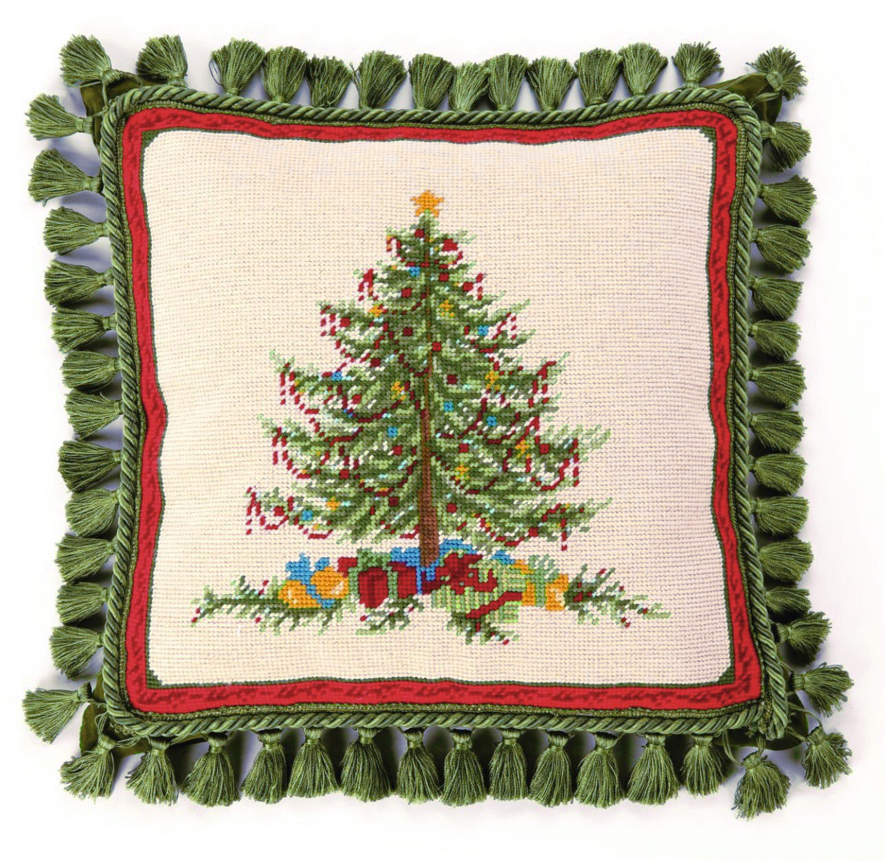 Victorian Christmas Needlepoint Pillow with Tassels