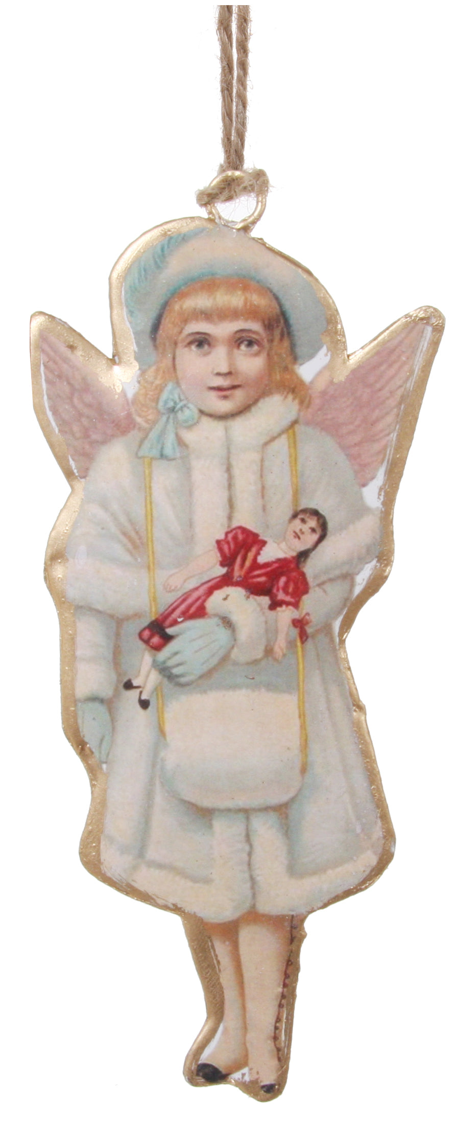 Victorian Girl Christmas Angel Ornament, Angel in Fur Coat and Muff Holding a Doll