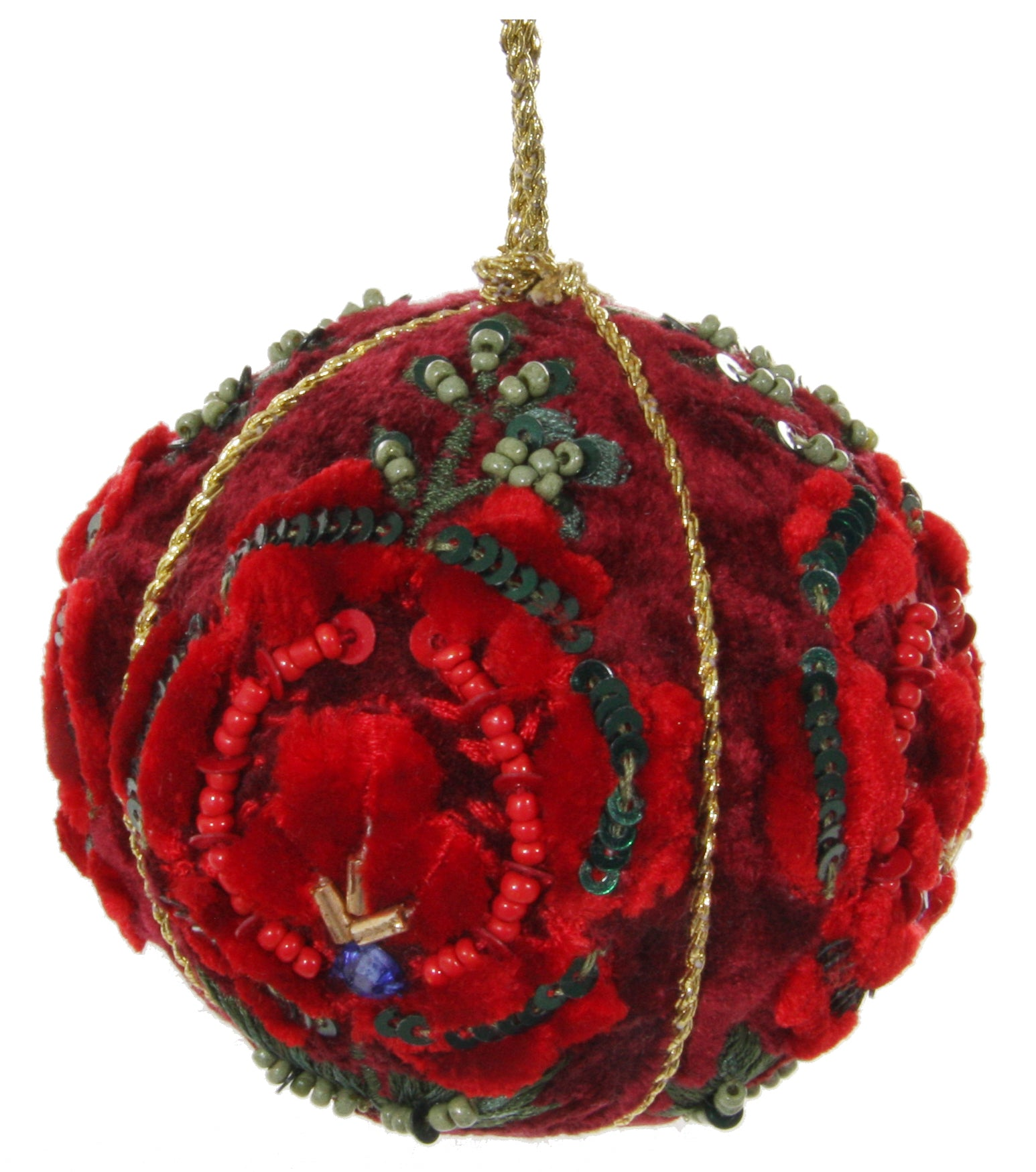 Victorian Velvet Rose Ball Ornament, Red