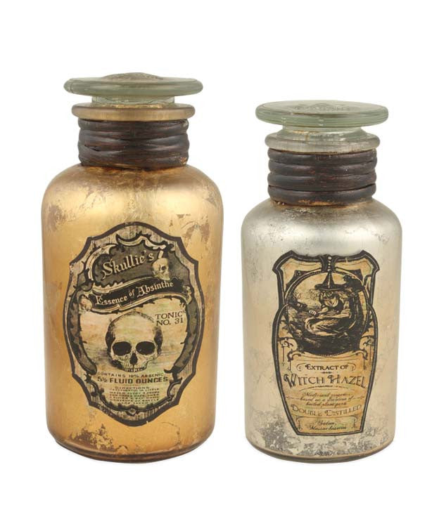 Vintage Apothecary Jars - Gold & Silver Halloween Bottles