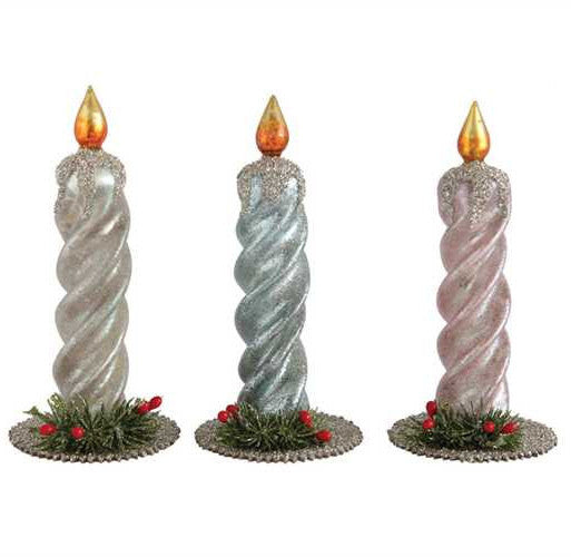 Vintage Christmas Candles.Vintage Glass Christmas Candles