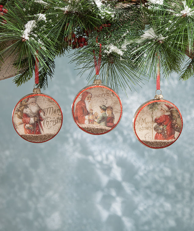 Vintage Christmas Glass Disc Ornaments