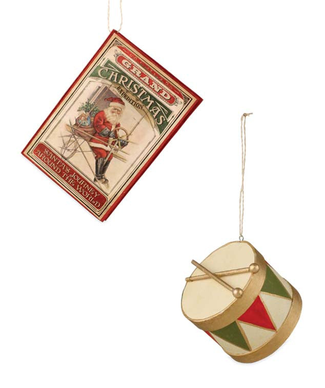 Vintage Christmas Toy Ornaments - Book & Drum