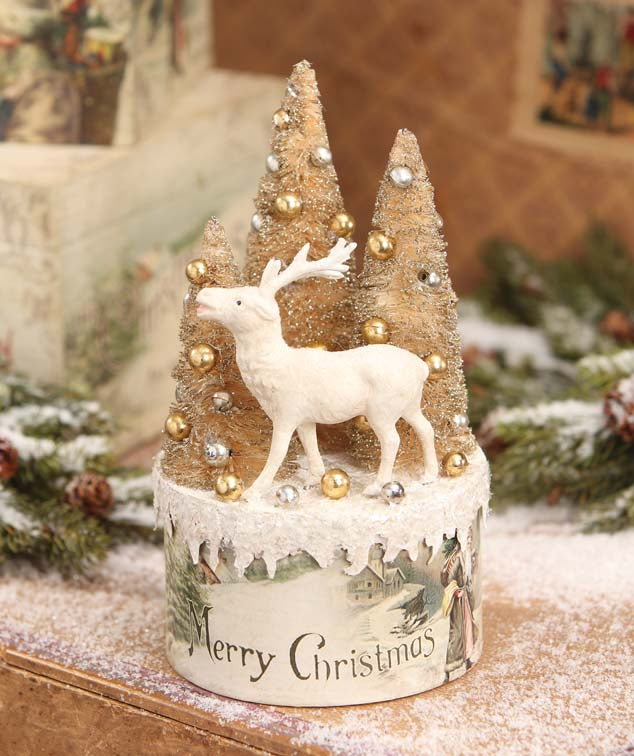 Vintage Christmas Vignette Box with Deer by Bethany Lowe