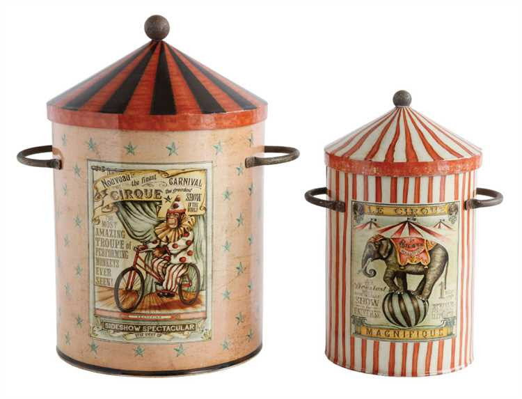 Vintage Circus Storage Tin Bins with Monkey & Elephant