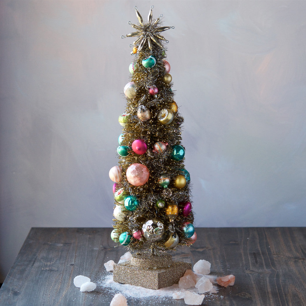 Vintage Silver & Pastel Tabletop Christmas Tree in Pink Aqua & Gold