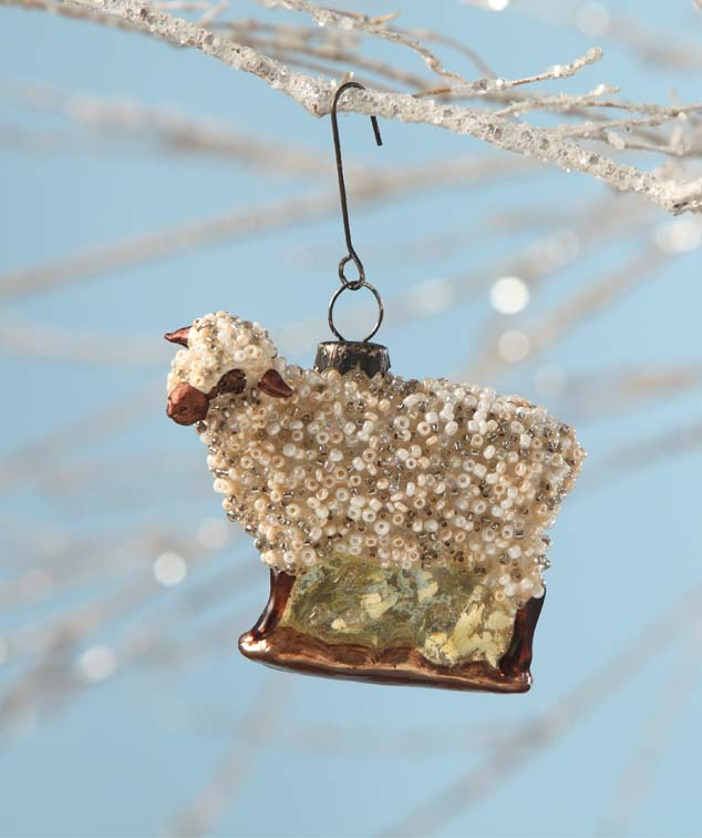 Beaded Glass Sheep Ornament by Bethany Lowe