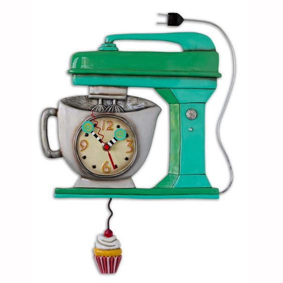 Vintage Green Mixer Clock with Cupcake