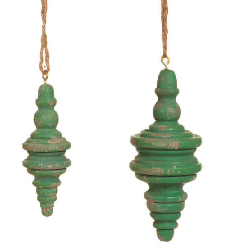 Vintage Greeen Turned Wood Finial Ornaments