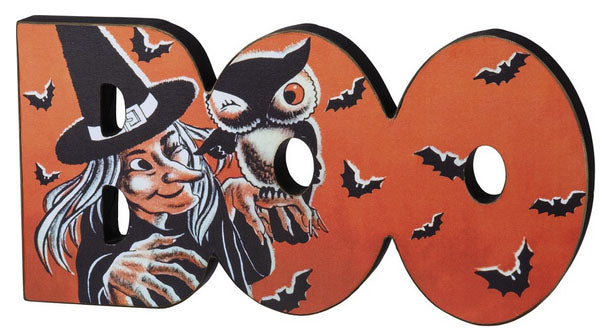 Retro Halloween Boo Witch Table Sign