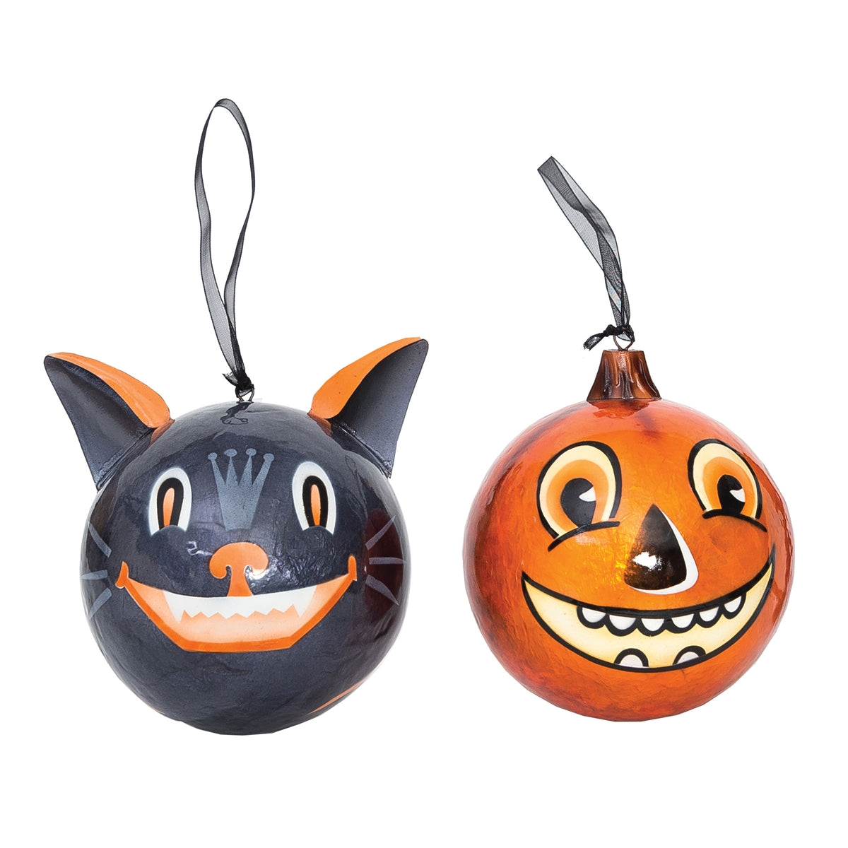 Vintage Halloween Cat & Pumpkin Ornaments