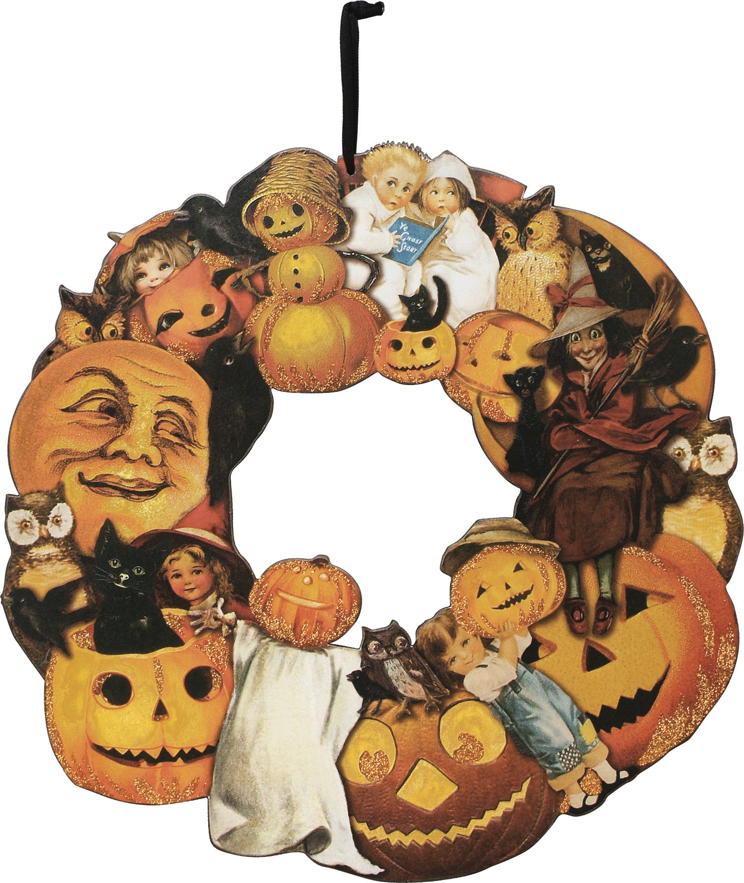 Vintage Halloween Wreath with a collage of post card images