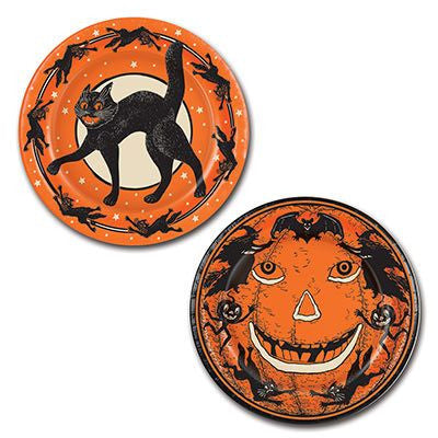 Retro Halloween Party Paper Plates