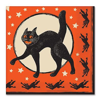 Vintage Halloween Scratch Cat Party Napkins