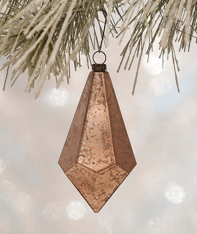 Vintage Pink Geometric Teardrop Ornaments - Glass