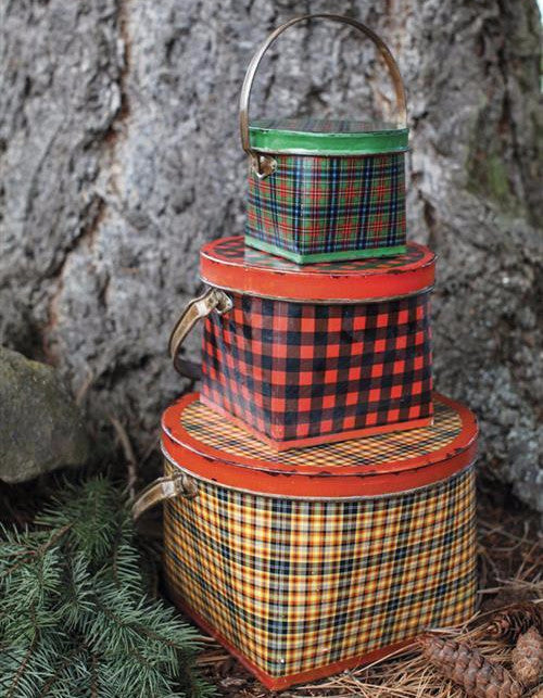 Vintage plaid tin buckets vintage style christmas for Christmas tin pails