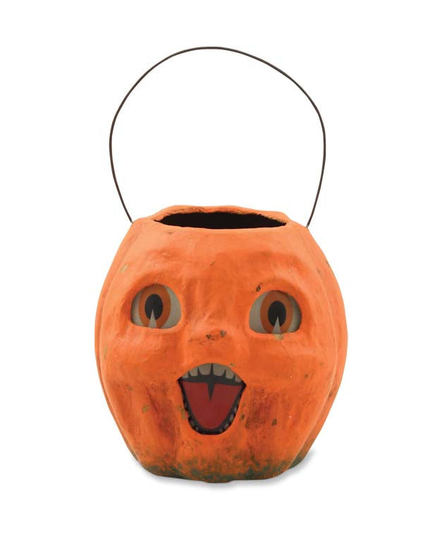 Vintage Pumpkin Bucket Small - Paper Mache Halloween Treat Bucket