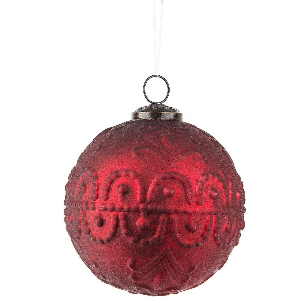 Vintage Red Ornament with Tin Ceiling Pattern