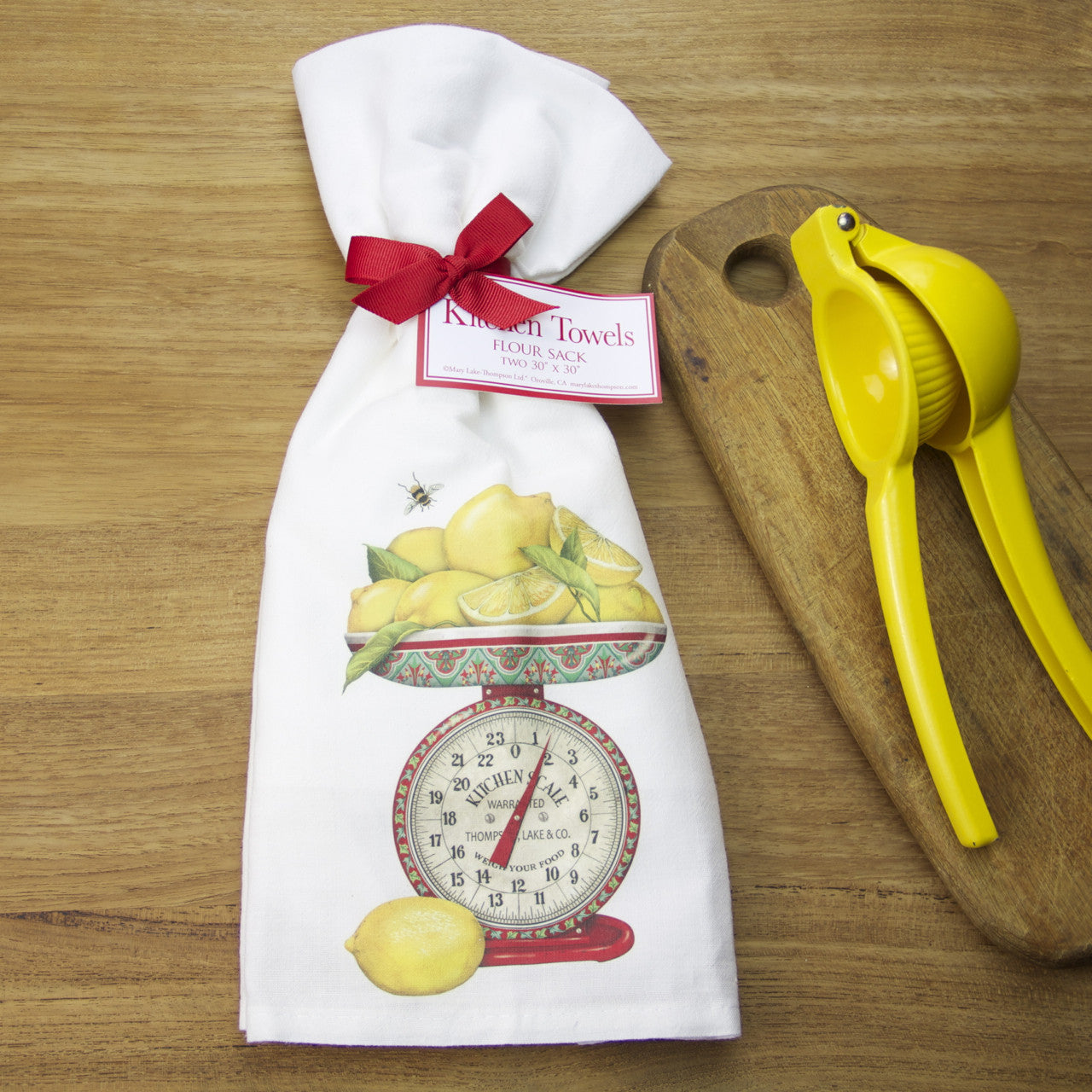 Vintage Red Scale with Lemons Flour Sack Towels