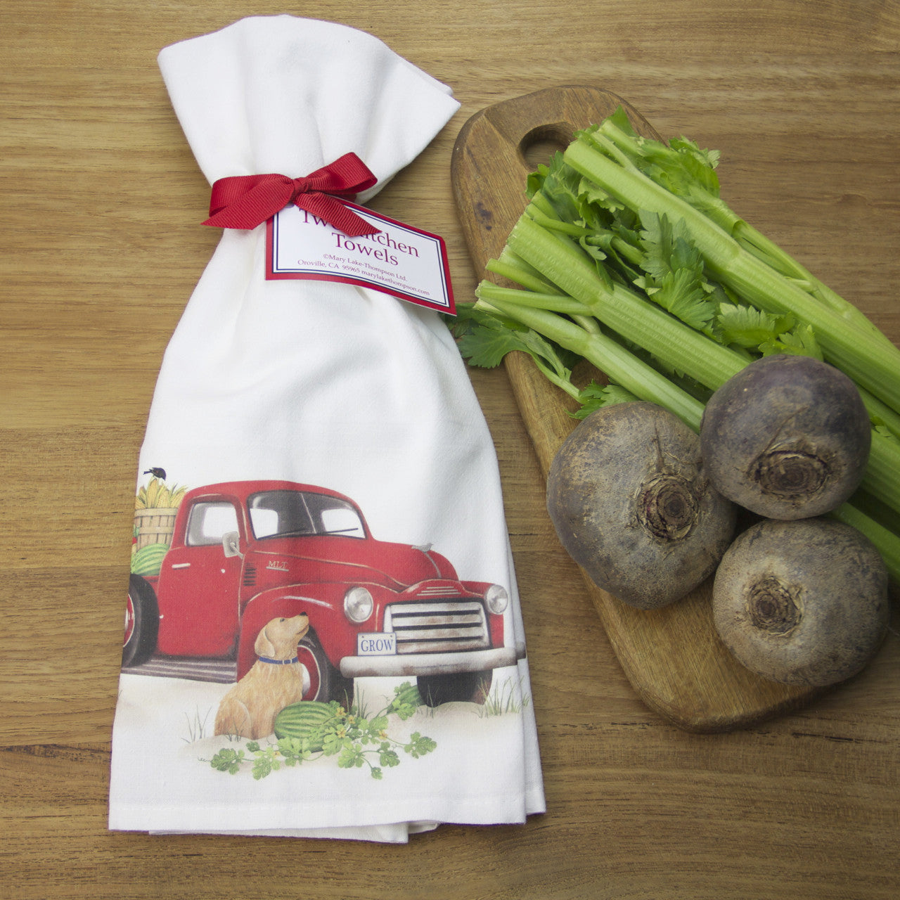 Vintage Red Truck with Dog Flour Sack Towels by Mary Lake-Thompson