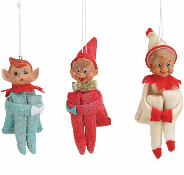 Vintage Reproduction Elf Ornaments - Retro Christmas
