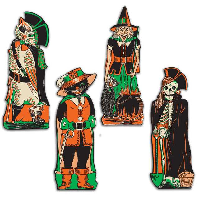 Reproduction 1950's Halloween Cutouts - Skeleton Pirate, Puss in Boots, Witch with Cauldron, Owl