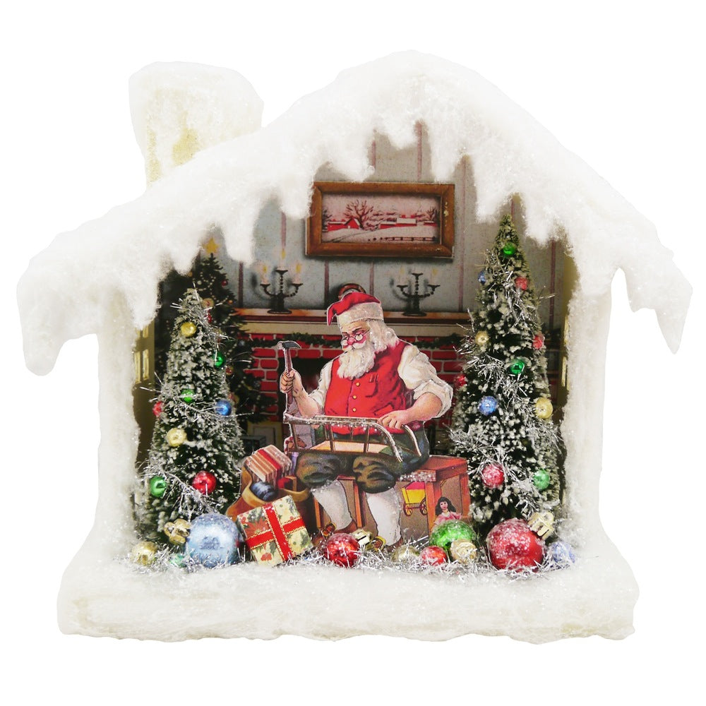 Vintage Santa House Shadowbox with LED Light -  Putz