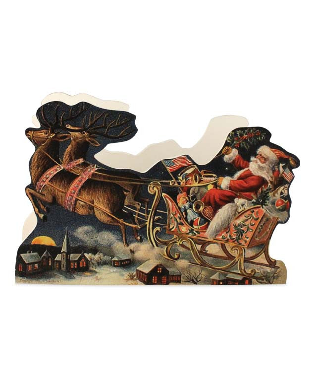 Vintage Santa in Sleigh Christmas Card Holder