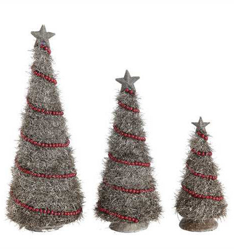 Tinsel Christmas Tree.Vintage Silver Tinsel Christmas Trees