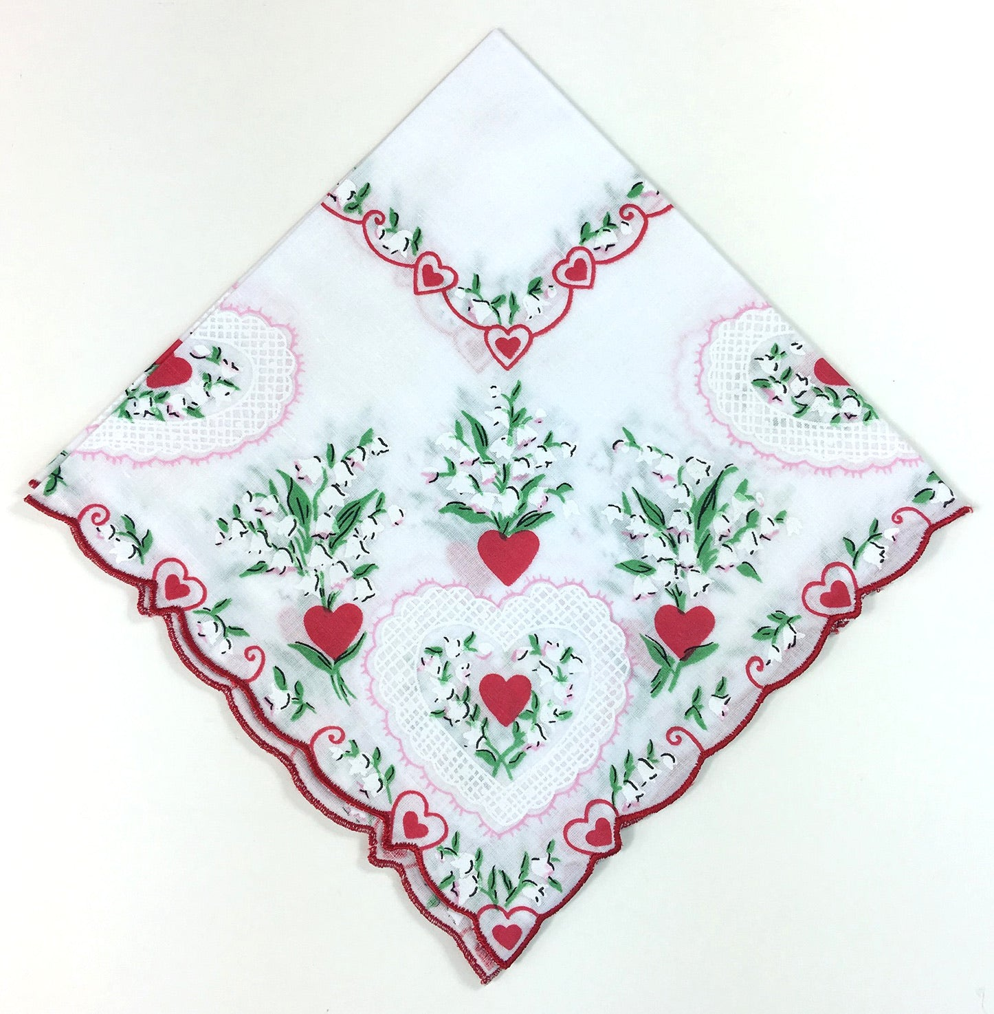 Hearts & Lillies Vintage Handkerchief Reproduction