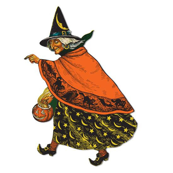 Vintage Witch Cutout - Retro Paper Halloween Decoration