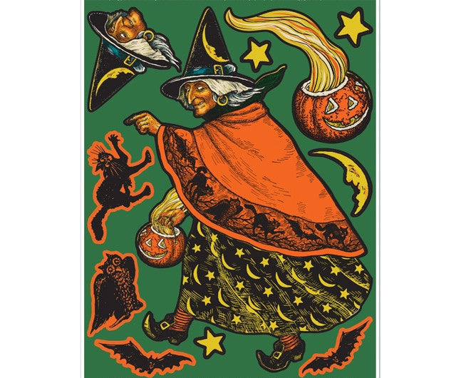 Vintage Witch Peel 'N Place Halloween Decals