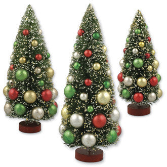 Vintage Bottle Brush Trees with Traditional Mercury Balls
