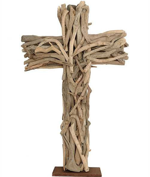 Weathered Driftwood Cross Table Piece