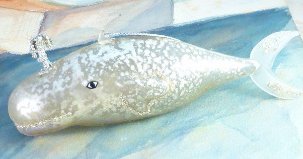 Pearl Glass Whale Ornament