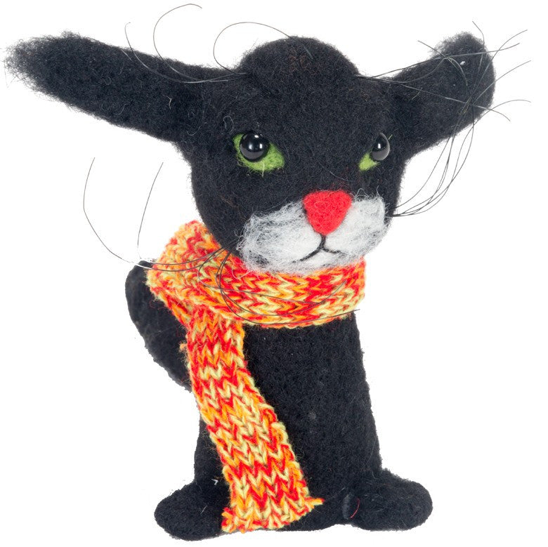 Whiskers Black Halloween Cat - Wool Felt Decoration
